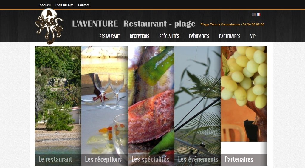 Site vitrine du restaurant de plage l'Aventure
