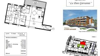 Plan d'un appartement de standing type 3 à vendre à Carqueiranne