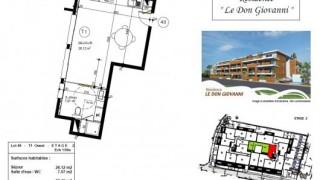 Plan d'un appartement de standing type 1 à vendre à Carqueiranne
