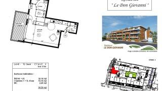 Plan d'un appartement de standing type 2 à vendre à Carqueiranne